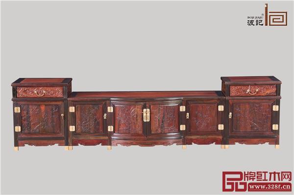 波记家具:2.5米四季花三组合地柜3件套