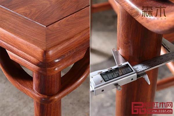 森木家具八仙桌传统工艺罗锅枨,其下空间清亮通透,视觉结果极灵活轻秀