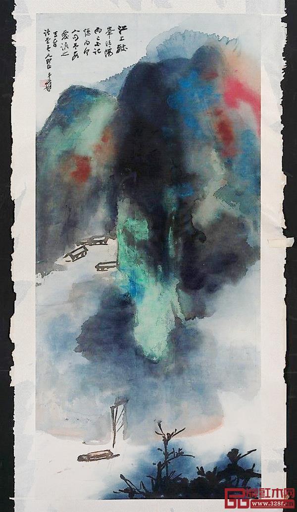 """""""松烟黛墨""""的创作,从张大千的《峰晴隔雨图》开始。中国水墨画侧重氛围与意境,将自我散逸在画中世界、浑然合一而没有明确的内外之分,这与中国人的气味偏好如出一辙:内敛深远"""