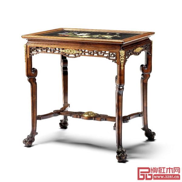 中式风格的法国宫廷家具——铜鎏金装饰彩色硬石镶嵌桌面中式风格山毛榉木中央桌