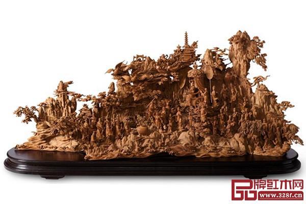 林慶財大師木雕作品——檀香木雕《媽祖巡游》