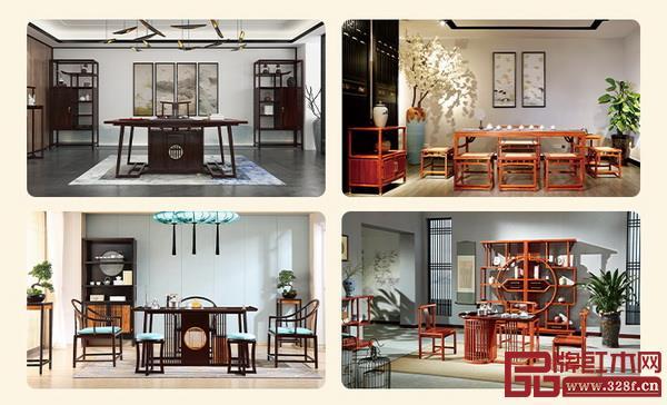"""""""当代红木茶台汇萃展"""",网罗众多红木茶台精品。 多款式、多材质、多功能红木茶台集中亮相"""