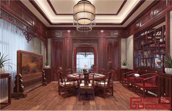 双洋红木中式家装餐厅效果