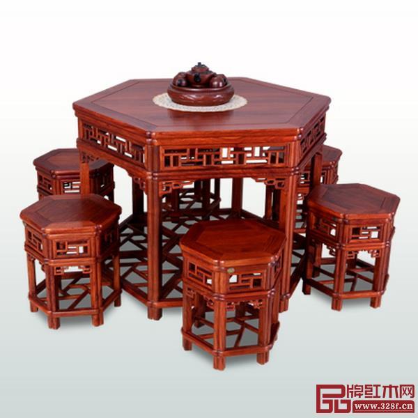 新明红木餐台7件套
