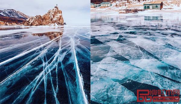 冰冻的贝加尔湖,剔透冰面下有无数种神秘裂痕