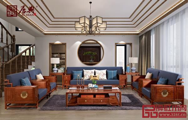 刺猬紫檀家具——居典红木《悦几千禧沙发》