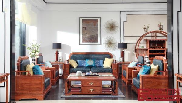 居典红木尚结沙发(皮质)