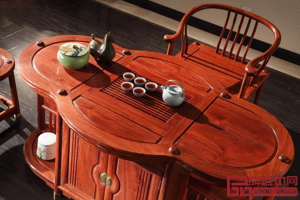 居典红木圆融茶台