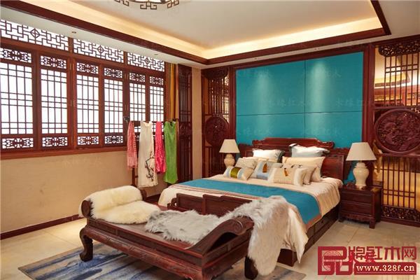 木缘红木高端私人定制样板间——卧房空间一角