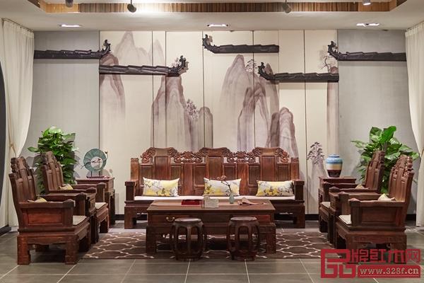 盛世周木匠大红酸枝《大如意沙发》
