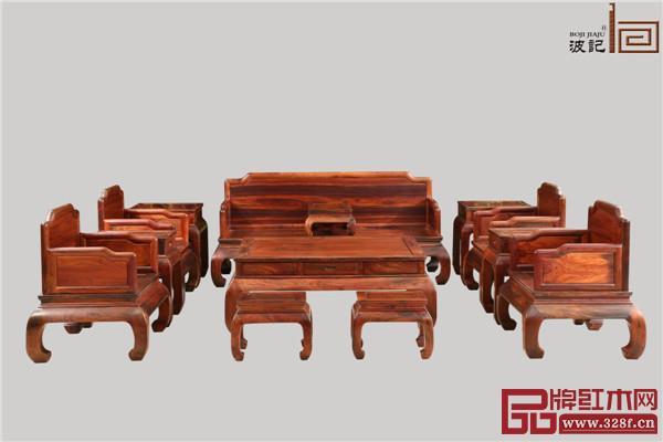 波记家具:老挝大红酸枝沙发明式独板沙发13件套