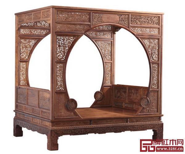 家具雕刻——大家之家海南黄花梨双月洞门架子床