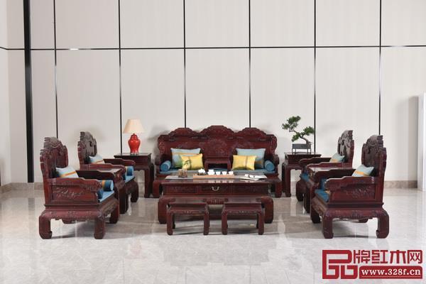 金品世家红木家具精品——大红酸枝江山如意沙发