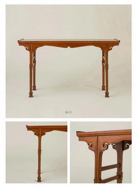 区氏家具 剑腿翘头案 黄花梨(楠木心板) 长:147cm 宽:39cm 高:83cm A huanghuali recessed trestle-leg table, qiaotou'an