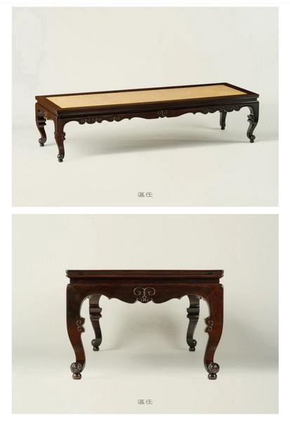 区氏家具 三弯脚卷珠足榻 酸枝 长:206cm 宽:70cm 高:49cm A ZITAN Three drawers dragon pattern low table