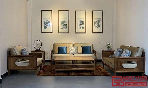 轩禾殿红木:时尚轻奢款新中式沙发2号