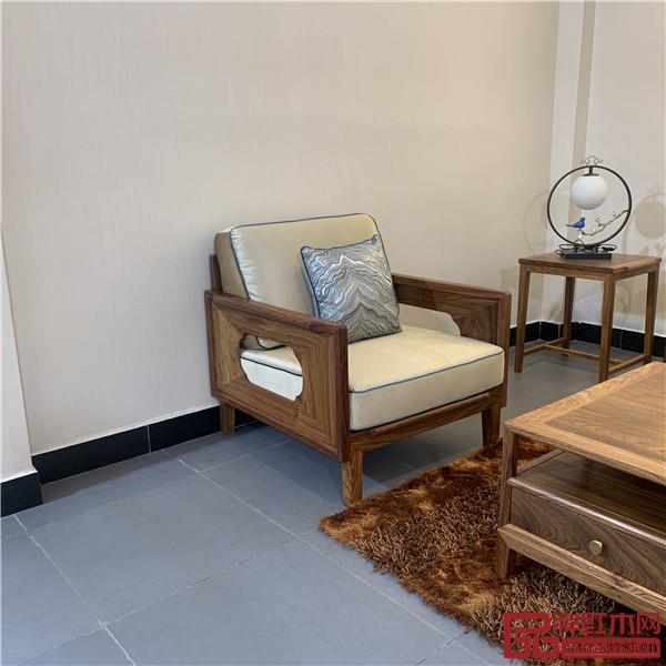 轩禾殿红木:时尚轻奢款新中式沙发2号单人位沙发
