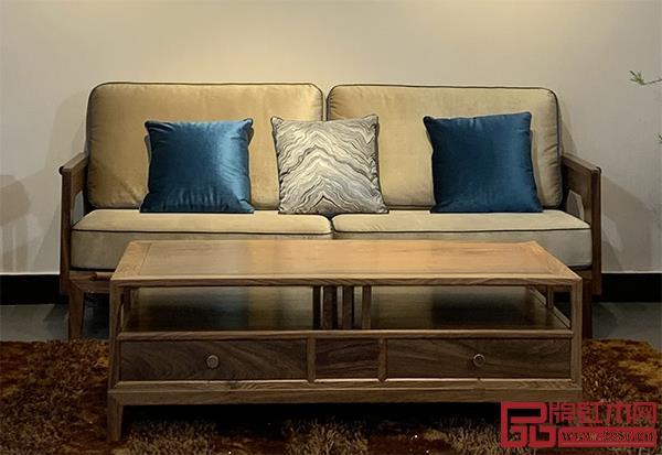 轩禾殿红木:时尚轻奢款新中式沙发2号大平几