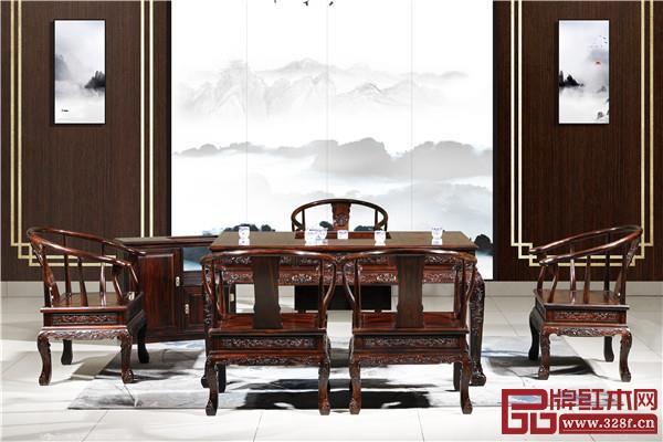 九宝红木:阔叶黄檀金丝茶台