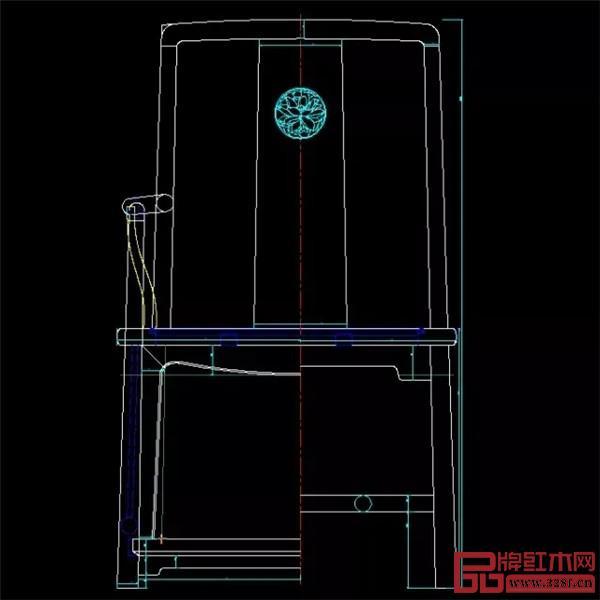 红桥红扇形官帽椅CAD图纸
