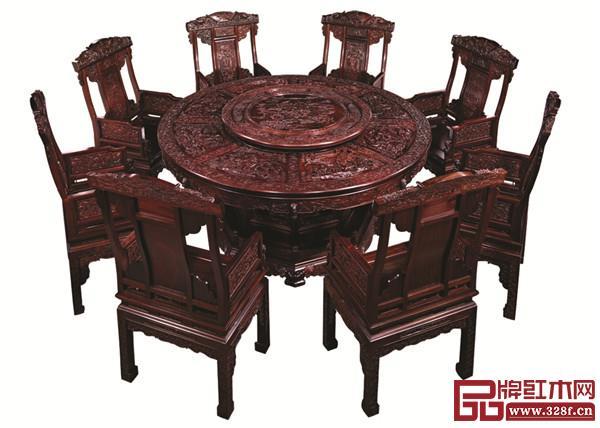 万盛宇红木:老挝大红酸枝八仙过海圆台