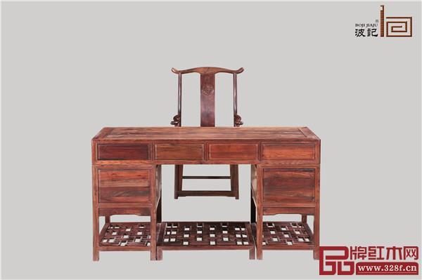 波记家具:老挝大红酸枝1.5米明式办公台2件套