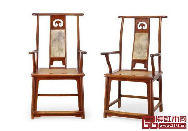 Lot1634 明 黄花梨嵌云石四出头官帽椅一对 成交价RMB:11,500,000