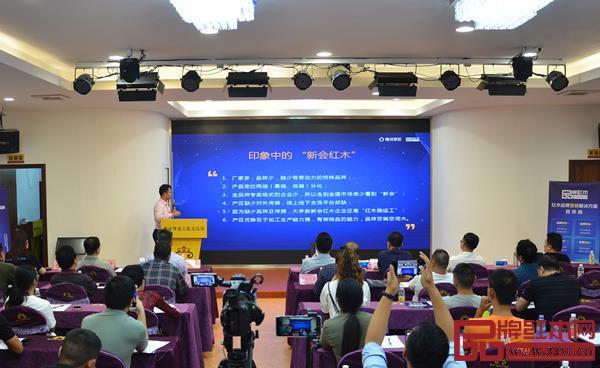 """林伟华会长为与会人员分析新会红木产区的""""现状""""特点"""