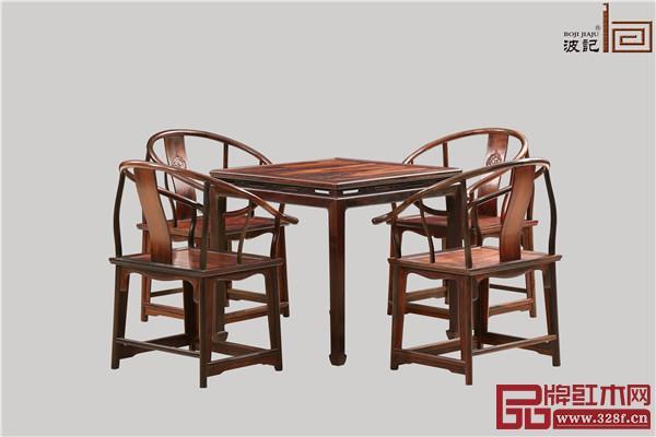 波记家具:老挝大红酸枝休闲椅5件套
