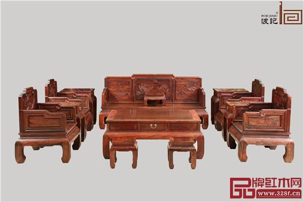 波记家具:挝大红酸枝松鹤延年沙发13件套