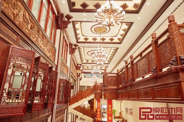 国方家居总部2000㎡红木工艺整装样板间,作为了解工艺品质和设计水平的入口