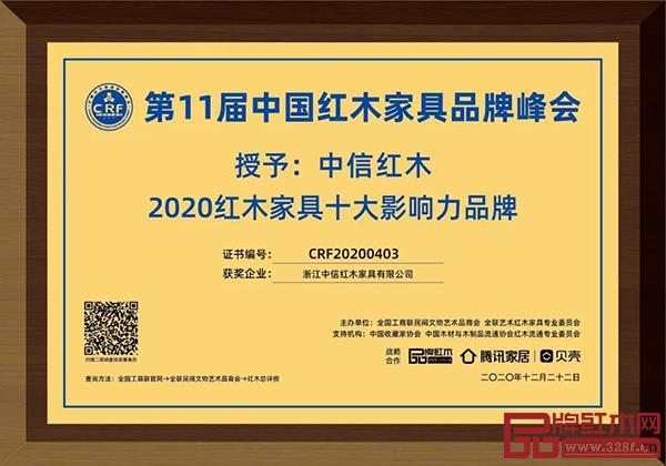 """中信红木荣获""""2020红木家具十大影响力品牌"""""""