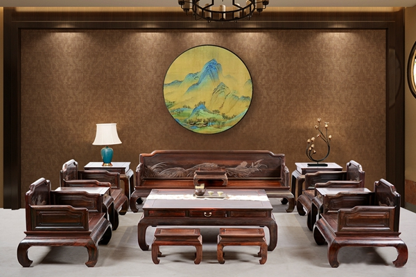 红木好物丨国方家居《大红酸枝荷趣沙发》:工艺美术大师陈新平力作